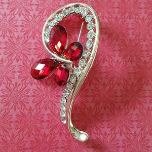 Jewelry - Red butterfly brooch